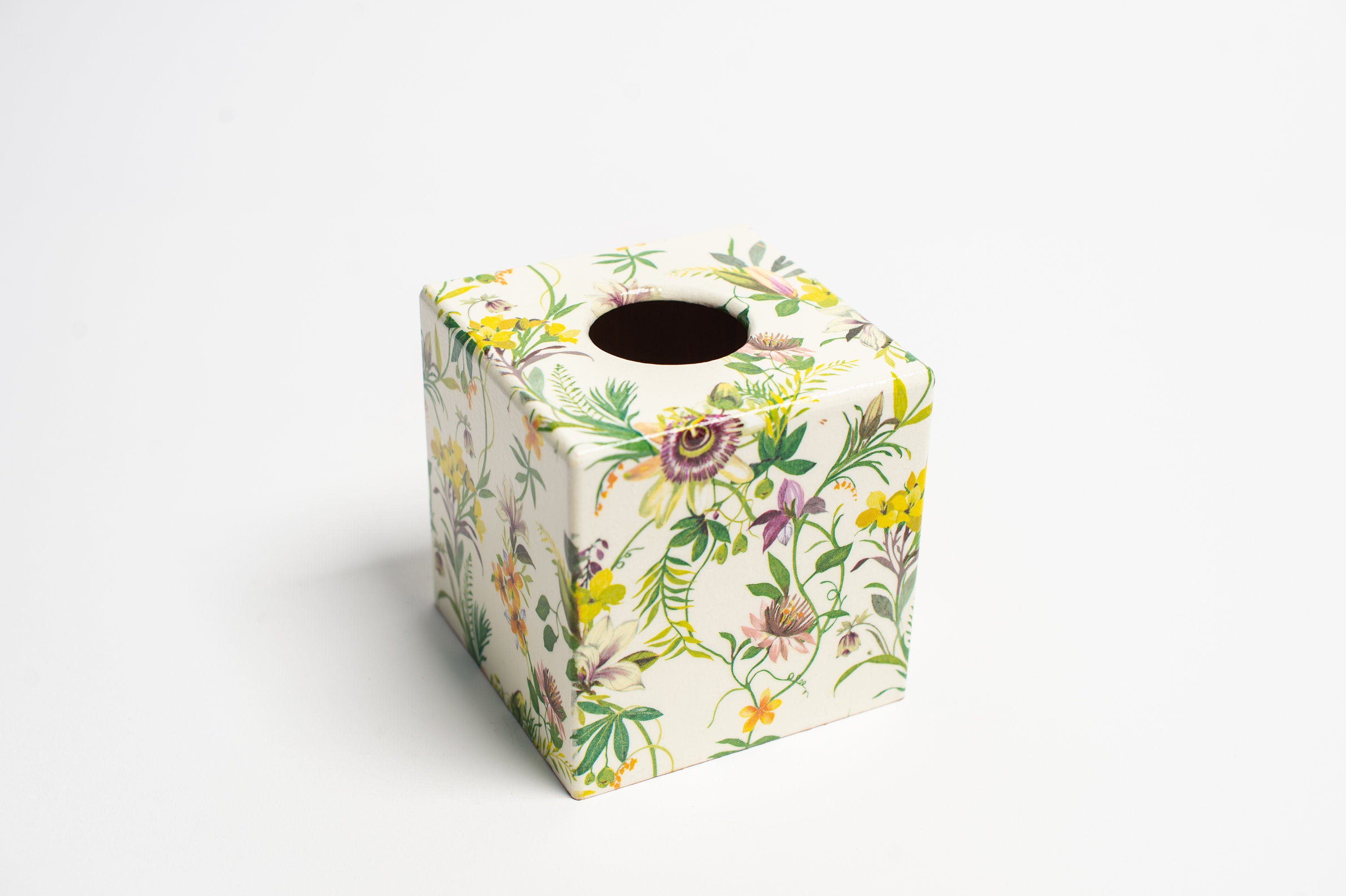 Passion Flower Waste Paper Bin & Tissue Box Cover Set