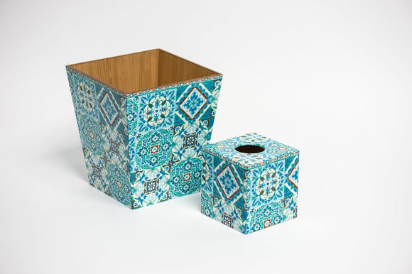 Blue Tiles Waste Paper Bin & Tissue Box Cover Set | Crackpots