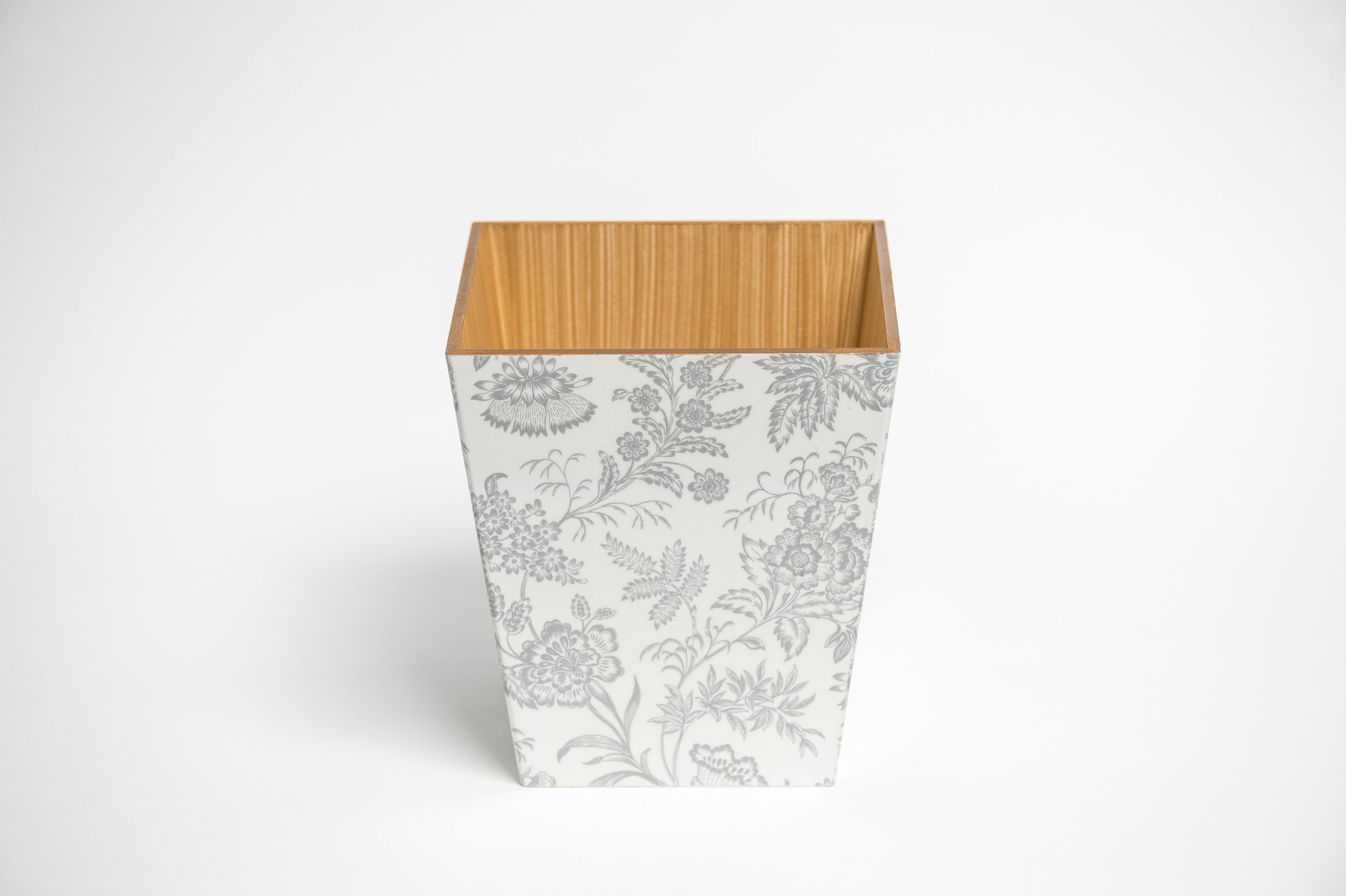 Silver Foliage Waste Paper Bin & Tissue Box Cover Set