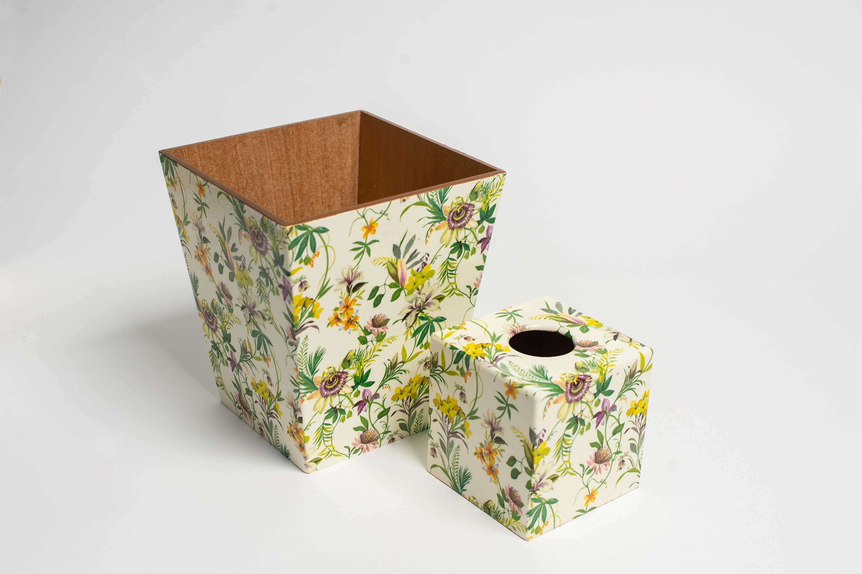 Passion Flower Waste Paper Bin & Tissue Box Cover Set | Crackpots