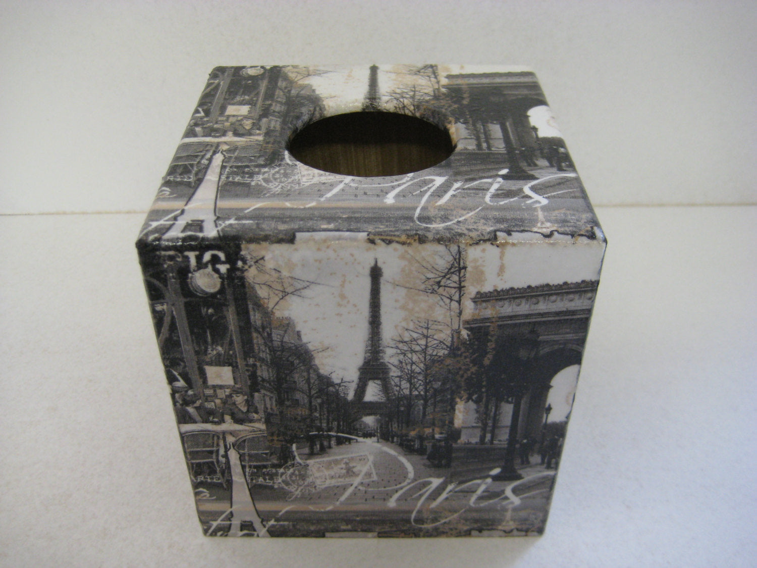 Paris Tissue Box Cover - Handmade