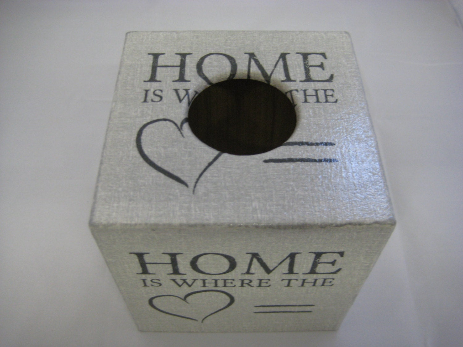 """Home Is Where The Heart Is"" Tissue Box Cover - Handmade"