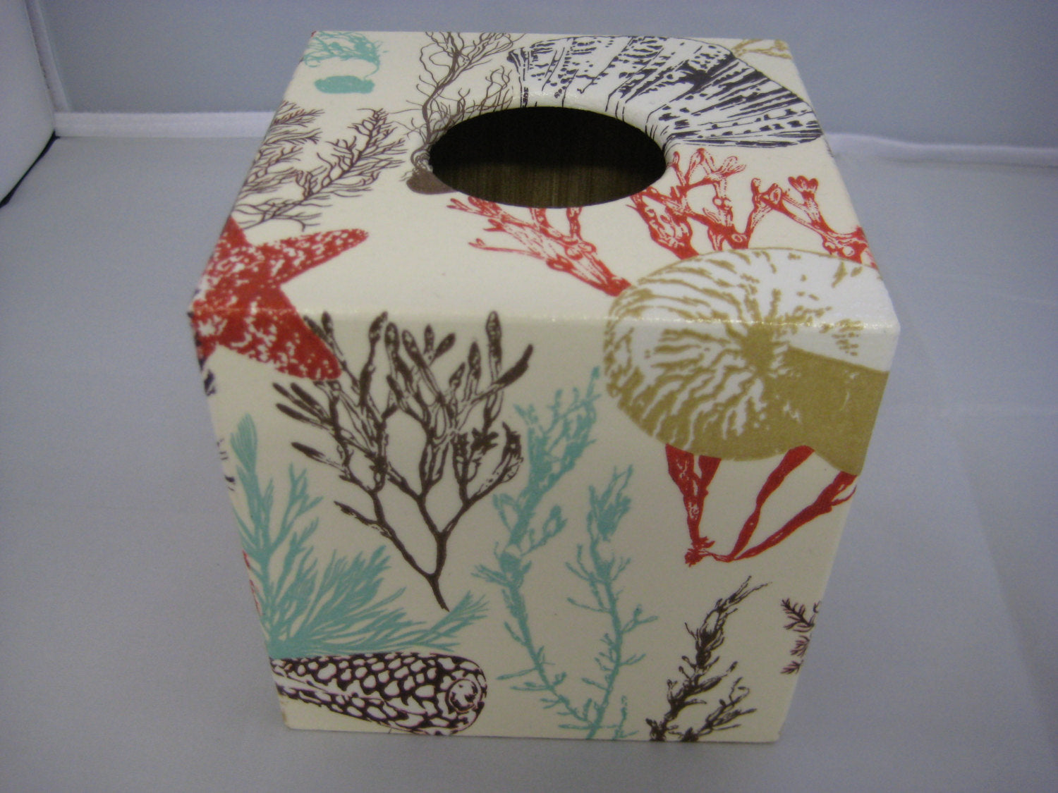 Natural Coral Tissue Box Cover - Handmade
