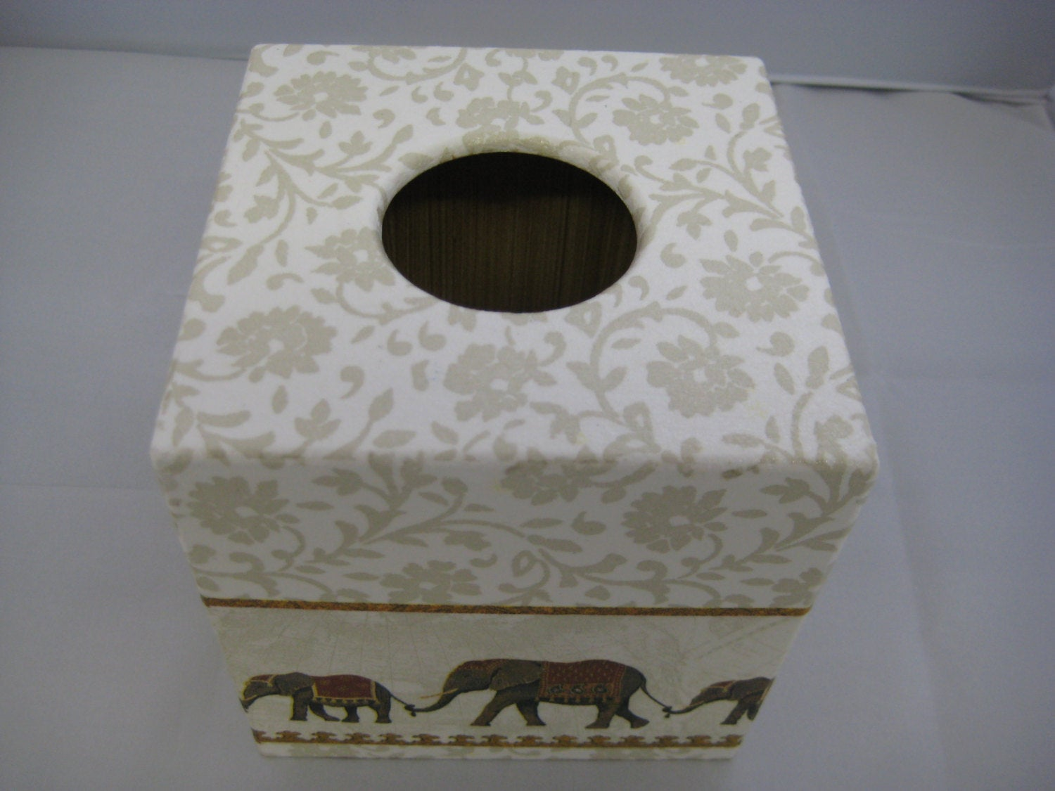 Indian Elephant Tissue Box Cover - Handmade
