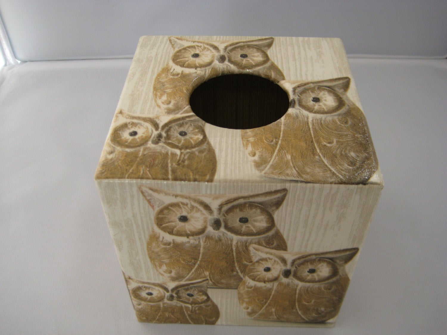 Brown Owl Tissue Box Cover - Handmade