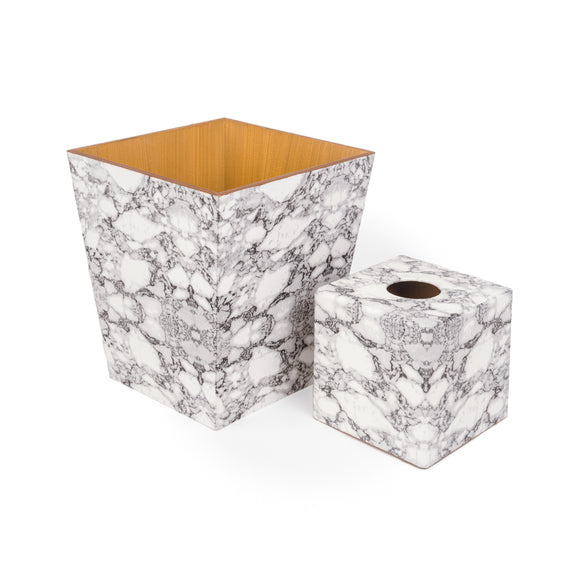 Marble Tissue Box Cover & Waste Paper Bin Set | Crackpots