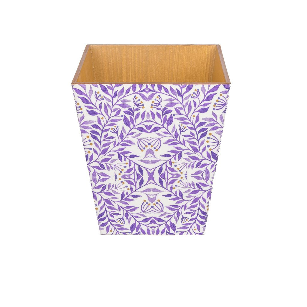 Purple Leaf Waste Paper Bin