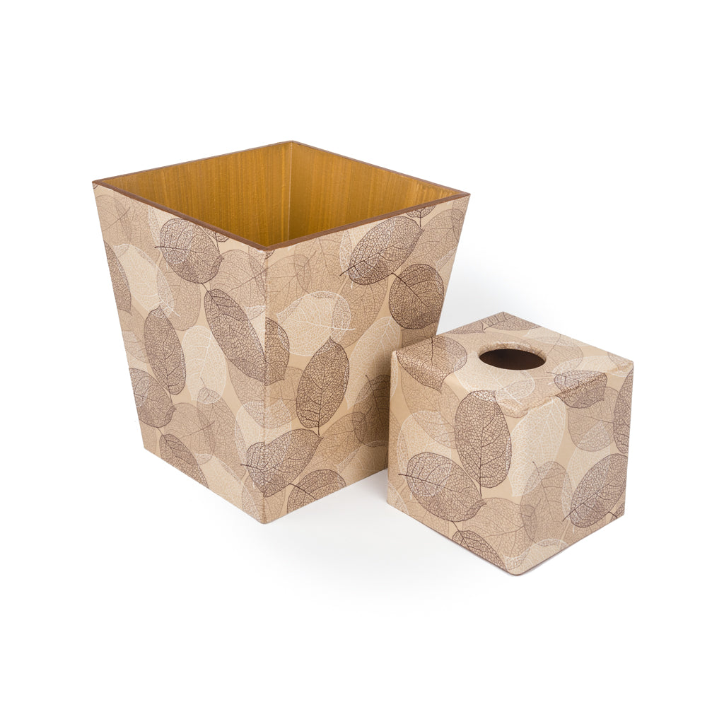 Skeleton Leaf Tissue Box Cover & Waste Paper Bin Set | Crackpots