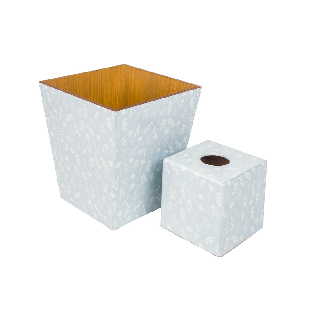 Tilda Blue Tissue Box Cover & Waste Paper Bin Set | Crackpots