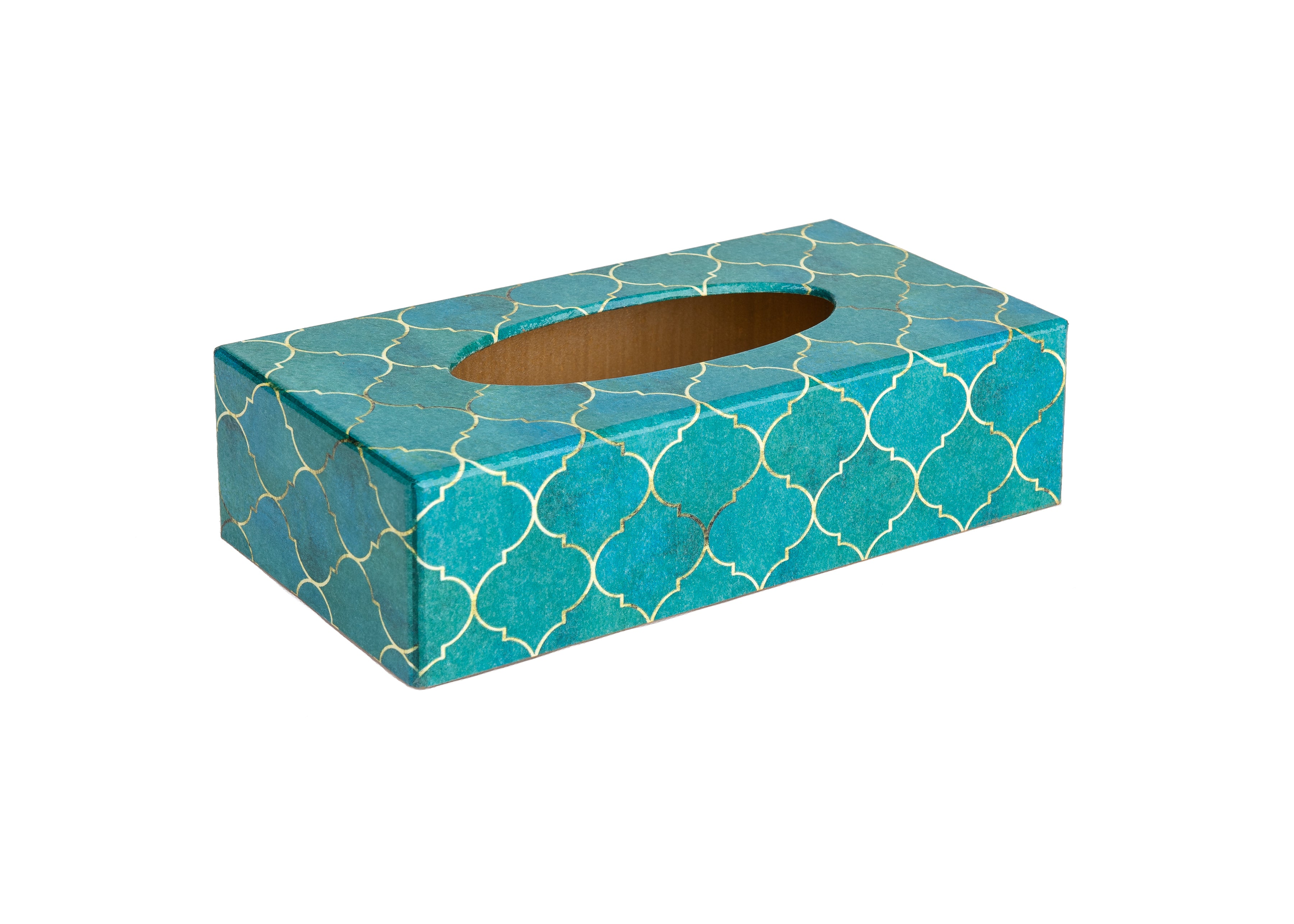 Turquoise Tiles wooden Tissue Box Cover