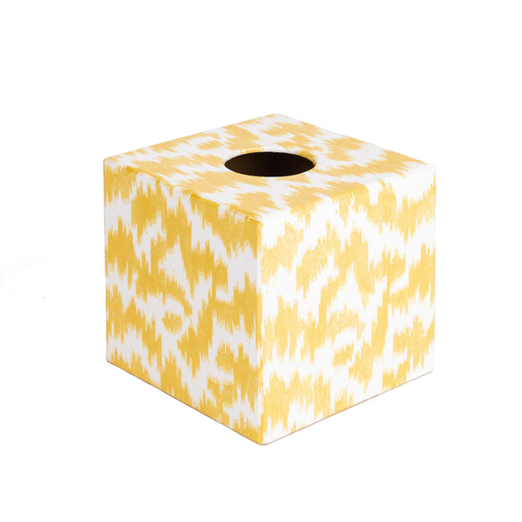 Yellow Ikat wooden Tissue Box Cover