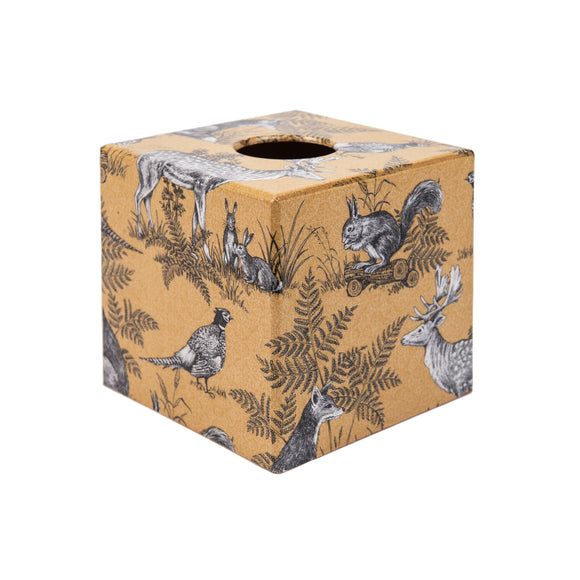 Gold Animals wooden Tissue Box Cover