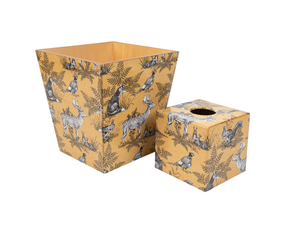 Gold Animal wooden Tissue Box Cover & Matching Waste Bin