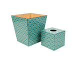 Art Deco Green Tissue Box Cover & Matching Waste Bin