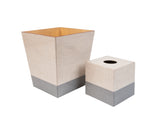 Grey Hessian wooden Tissue Box Cover & Waste Bin
