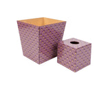 Art Deco Berry Tissue Box Cover and Waste Bin
