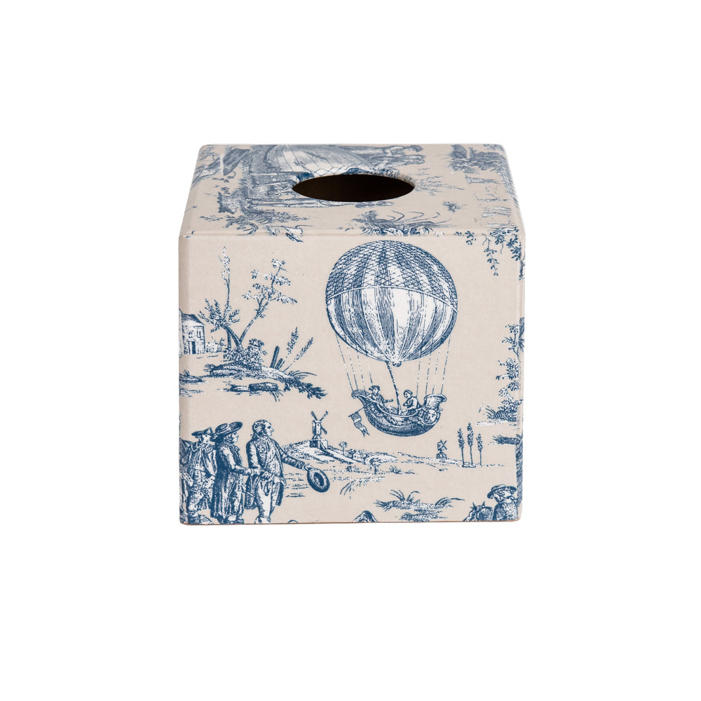 Blue Toile wooden tissue box cover