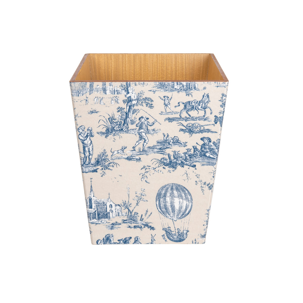 Blue Toile wooden Waste Paper Bin