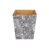 Abstract Black wooden Waste Paper Bin