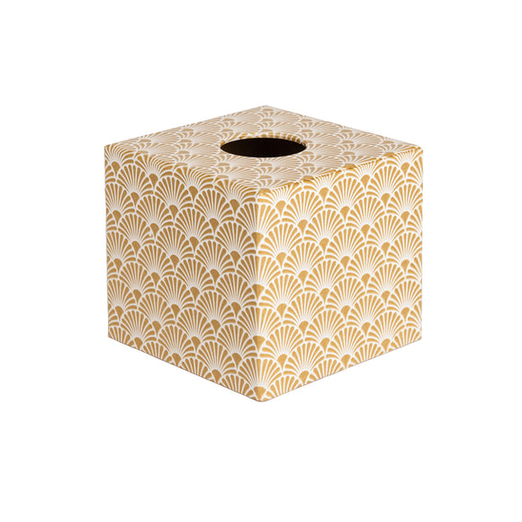 Gold Art Deco wooden tissue box cover