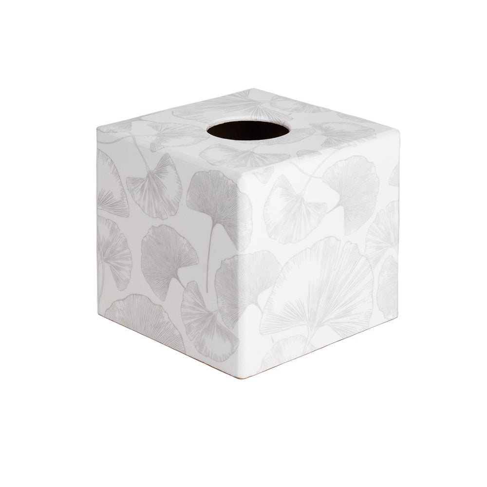 White Ginko tissue box cover