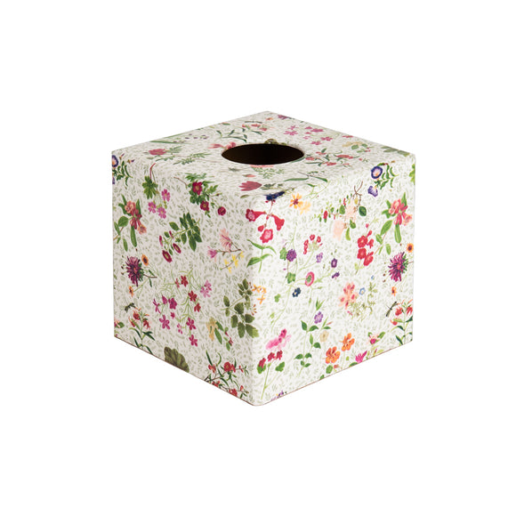 English Country Flowers wooden tissue box cover