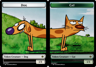 Green Cat and White Dog Token