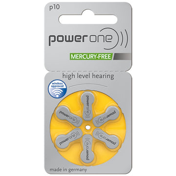 Power One Size 10 Hearing Aid Batteries (Single Packet of 6 Batteries)