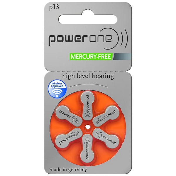 Power One Size 13 Hearing Aid Batteries (Single Packet of 6 Batteries)