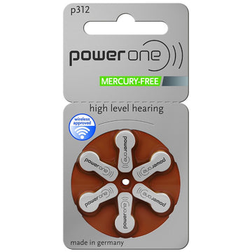 Power One Size 312 Hearing Aid Batteries (Single Packet of 6 Batteries)