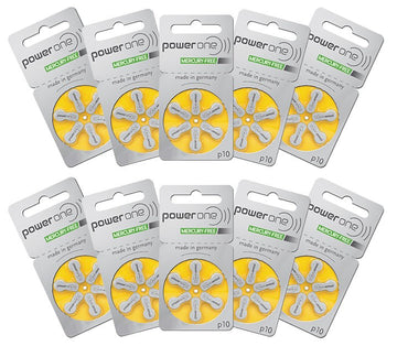 Power One Size 10 Hearing Aid Batteries (Box of 60 Batteries)