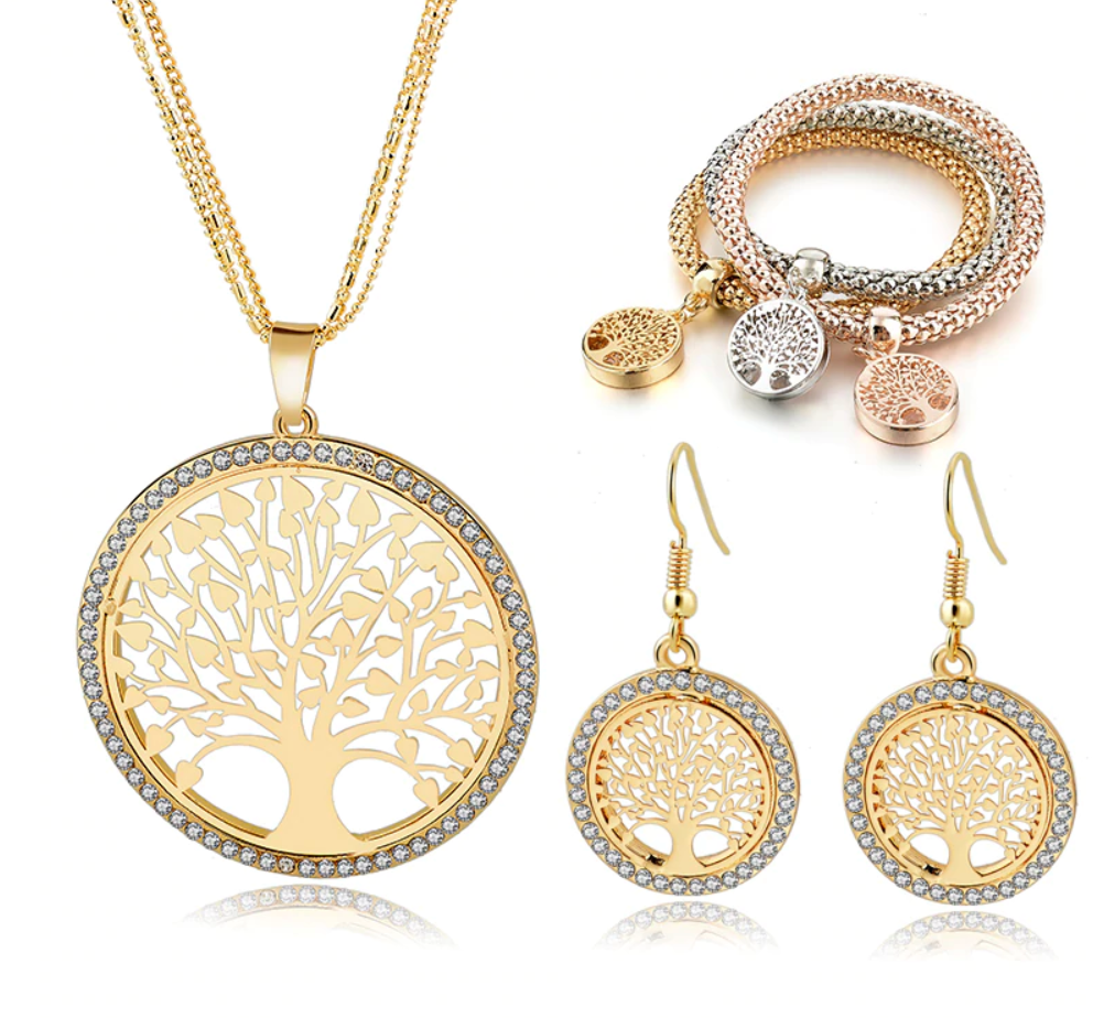Gold Tree of Life Necklace Set including Earrings & Bracelet
