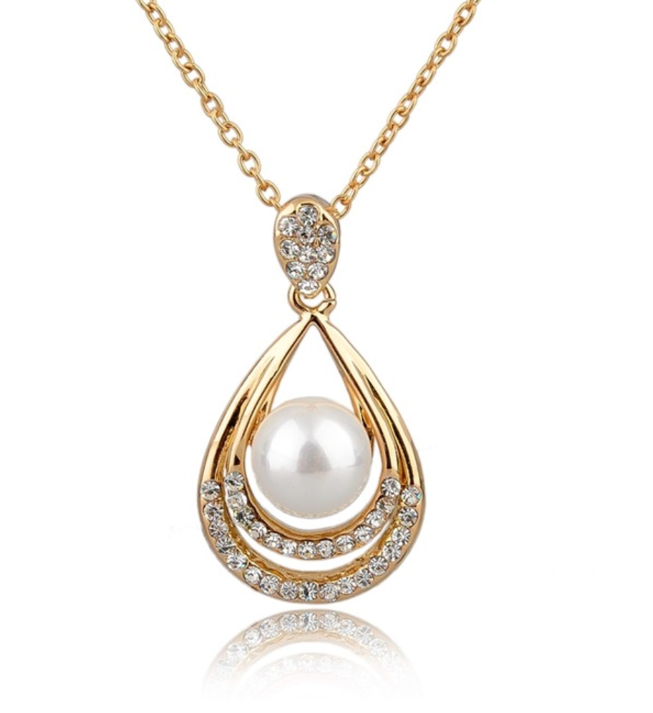 Austrian Crystal Necklace with Pearl