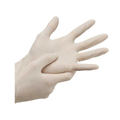 Disposable Powder-Free Latex Gloves Natural Coloured - Size Small (100 Pack)