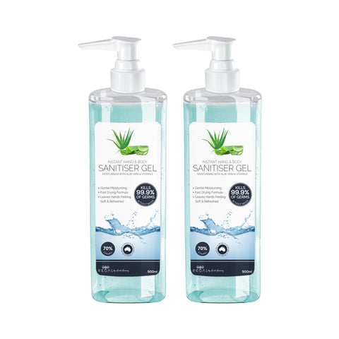 Instant Hand Sanitiser / Sanitizer Gel with Aloe Vera & Vitamin E Proven To Kill 99.9% of Germs - (500ml) - 2 Pack