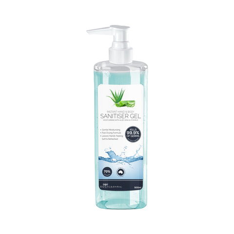 Instant Hand Sanitiser / Sanitizer Gel with Aloe Vera & Vitamin E Proven To Kill 99.9% of Germs - (500ml)