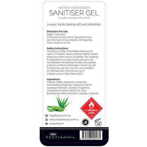 Instant Hand Sanitiser / Sanitizer Gel with Aloe Vera & Vitamin E Proven To Kill 99.9% of Germs - (500ml) - 6 Pack