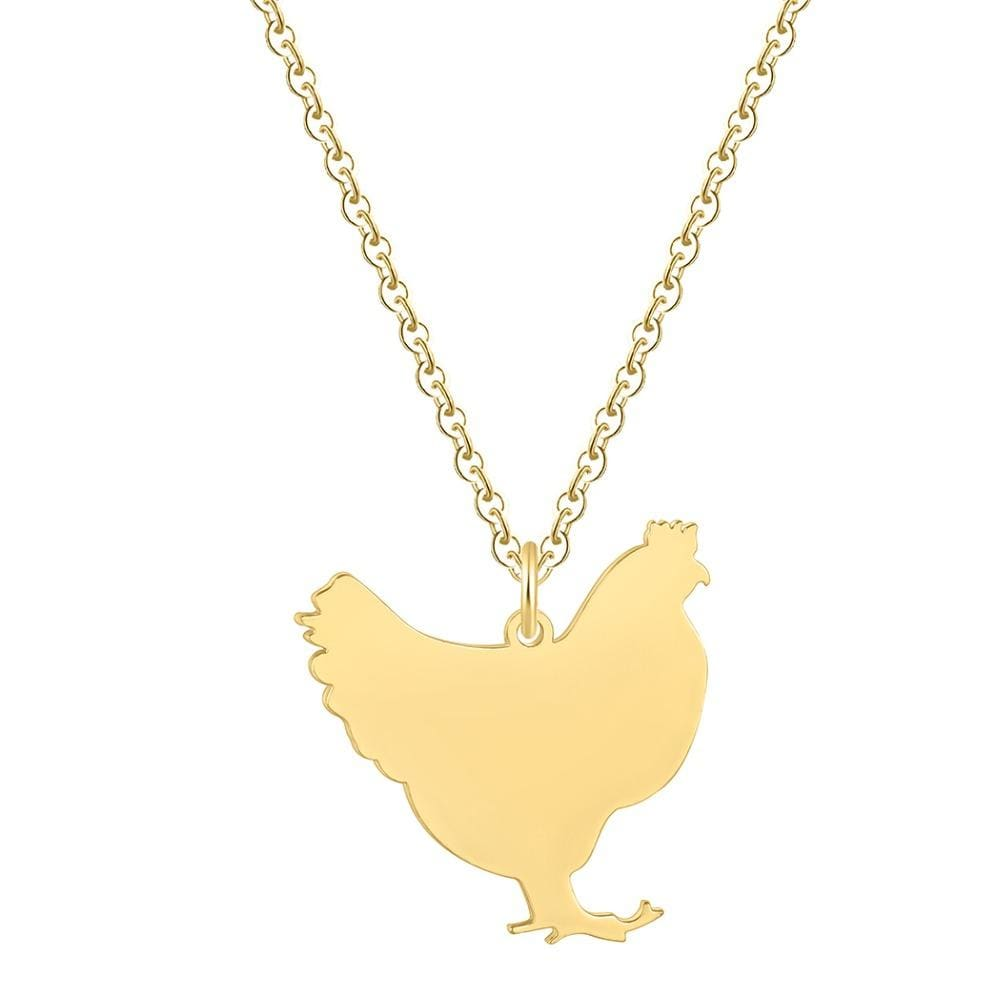 Collier poule en métal! Or