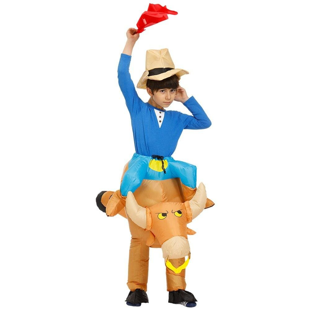 Costume gonflable cow boys sur taureau