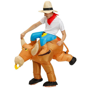Costume gonflable cow boys sur taureau - ADULTE