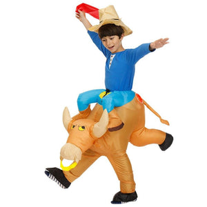 Costume gonflable cow boys sur taureau - ENFANT