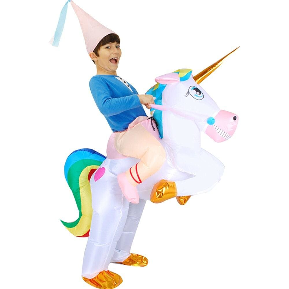 Costume gonflable licorne multicolore