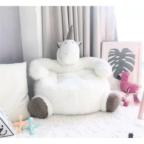 Gros coussin/peluche licorne blanche