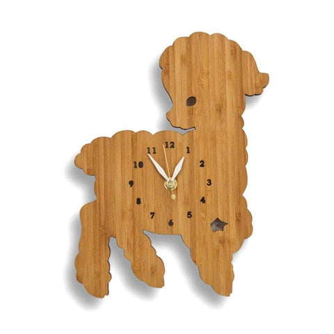 Horloge agneau cartoon en bois