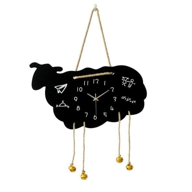 Horloge cartoon mouton noir - NOIR