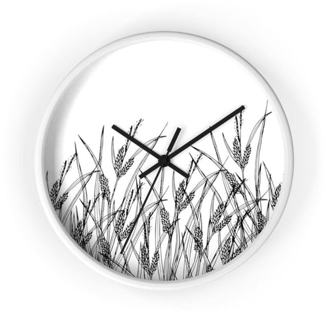 Horloge champ de plantes sauvages - 10 in / White / Black -