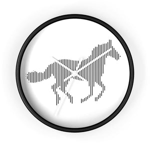 Horloge cheval au galop - 10 in / Black / White - Art & Wall