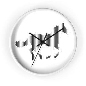 Horloge cheval au galop - 10 in / White / Black - Art & Wall