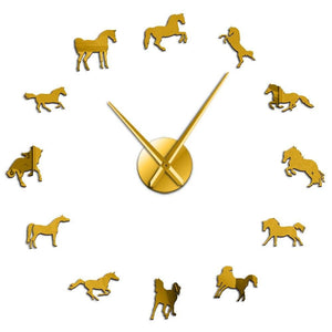 Horloge cheval rond de chevaux arabes - OR / 37 Inch