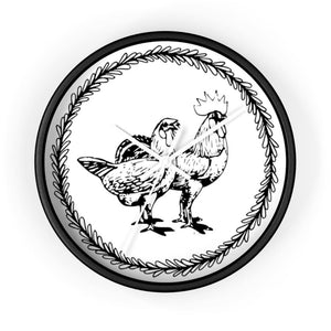 Horloge couple poule et coq - 10 in / Black / White - Art &